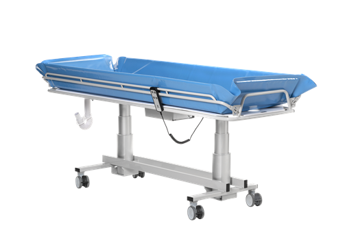 Shower bed for disabled - Multi-tasking battery operated shower trolley